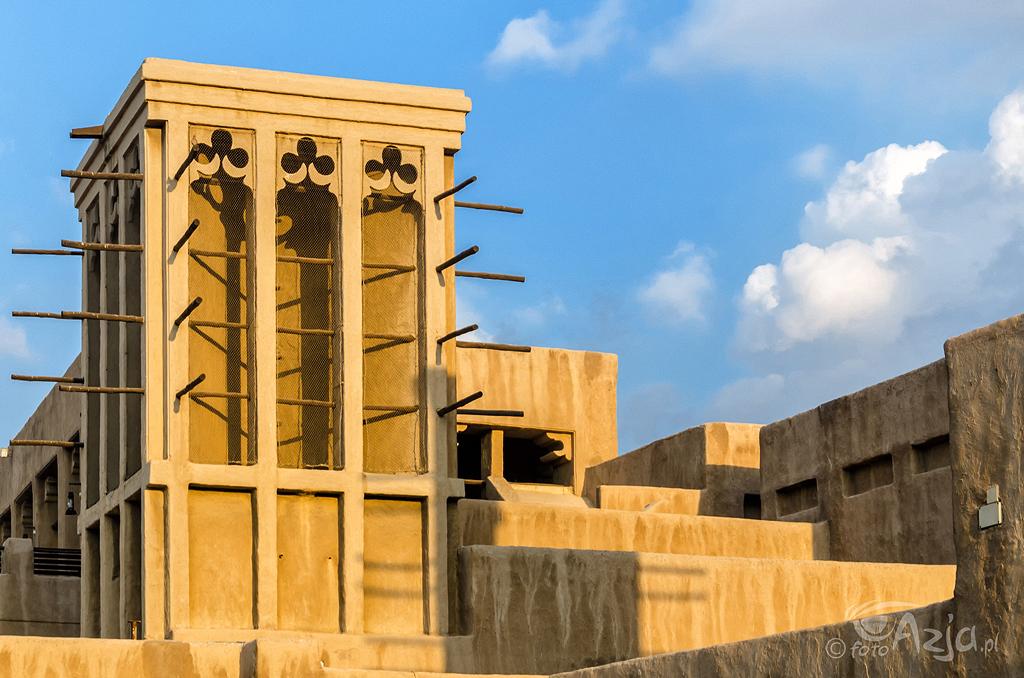 Wieże wiatrowe w zabytkowym domu-muzeum Szejka Saeeda Al Maktoum